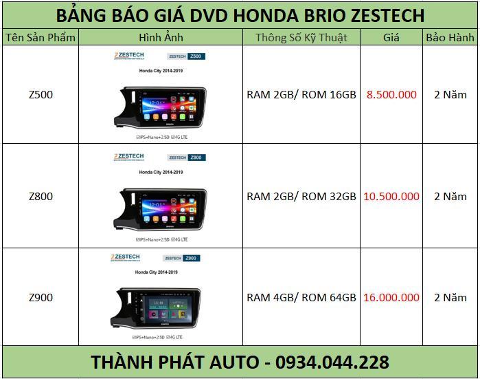 Bảng báo giá màn hình dvd androi honda brio Zestech